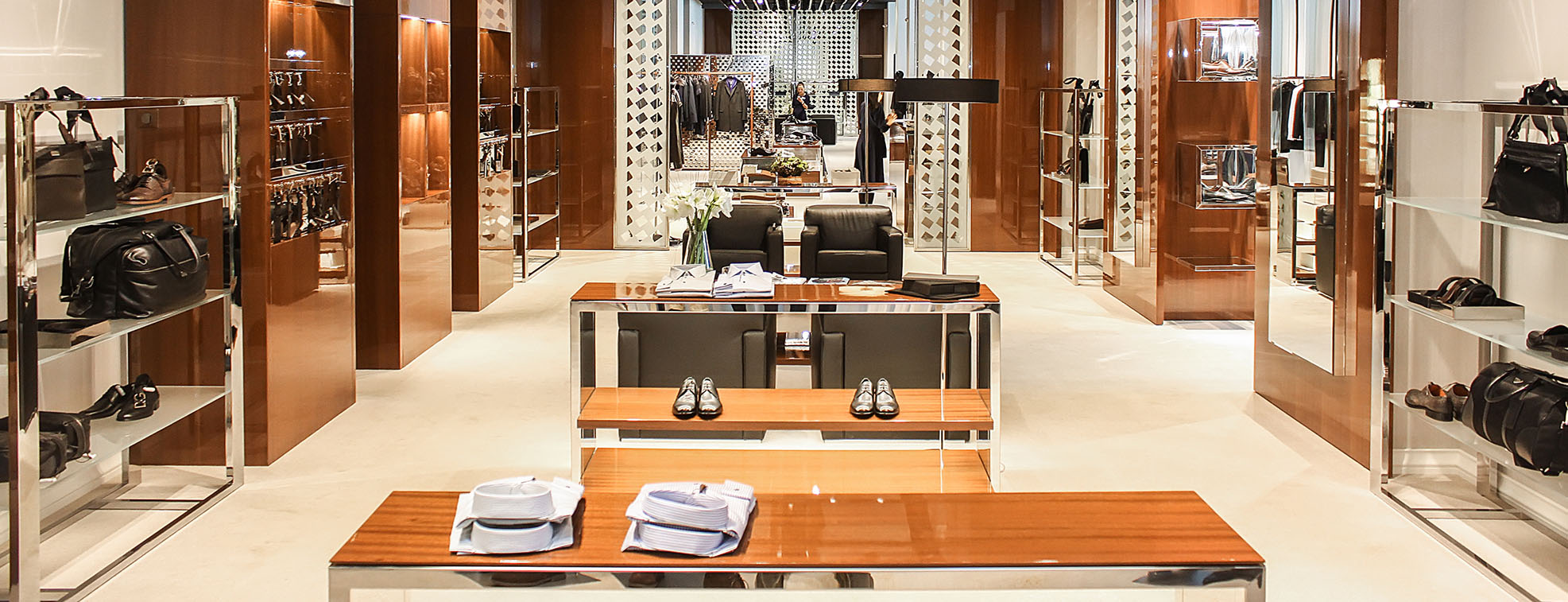 Clean and simple layout design of a designer store