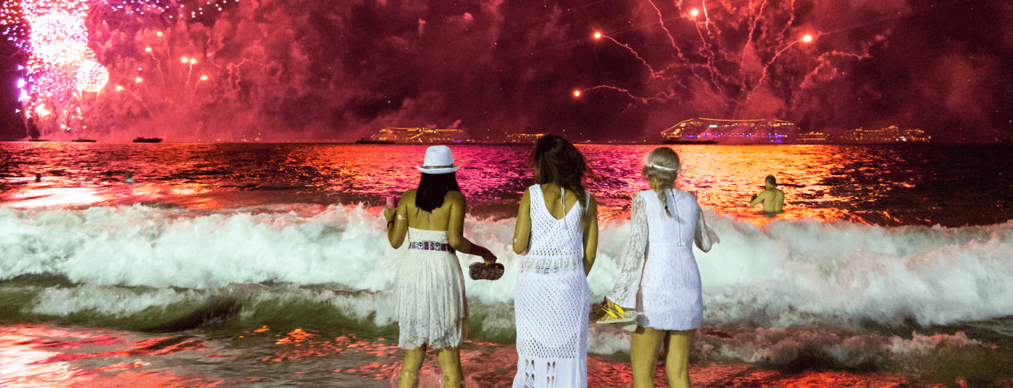 One of Brazilian New Year's Eve Traditions is to wear white and jump over waves