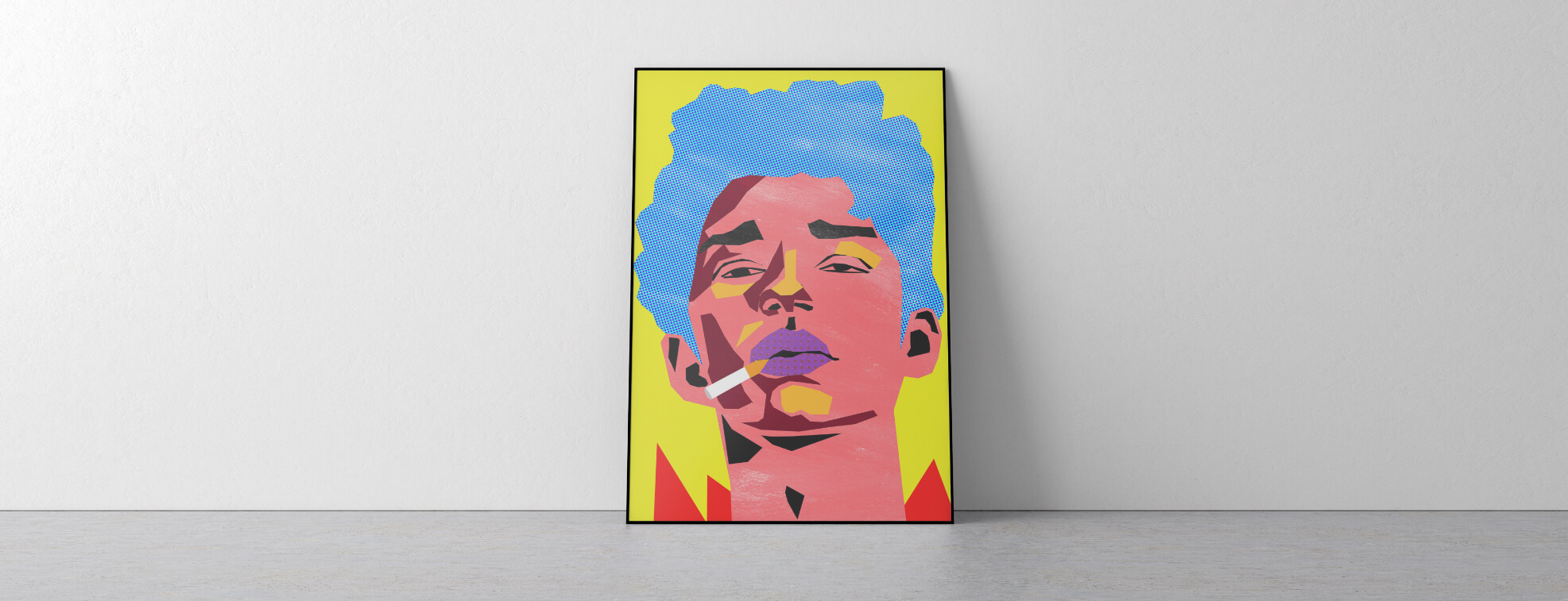 Pop art poster of a boy smoking leaned again white wall