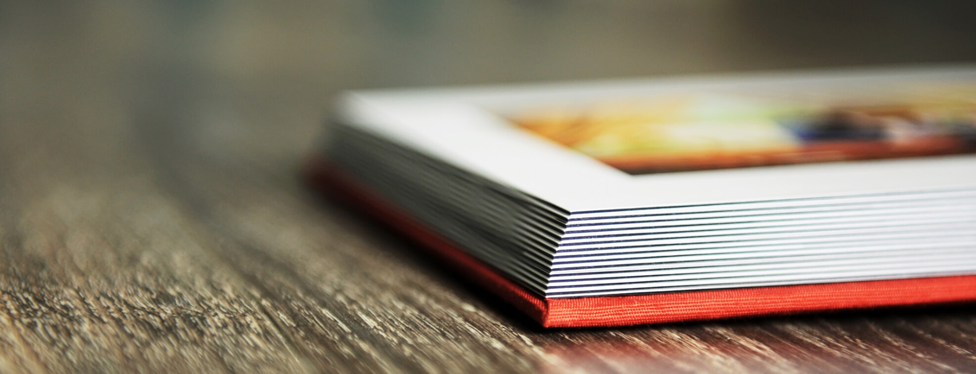 Close up of a photo book placed on a table