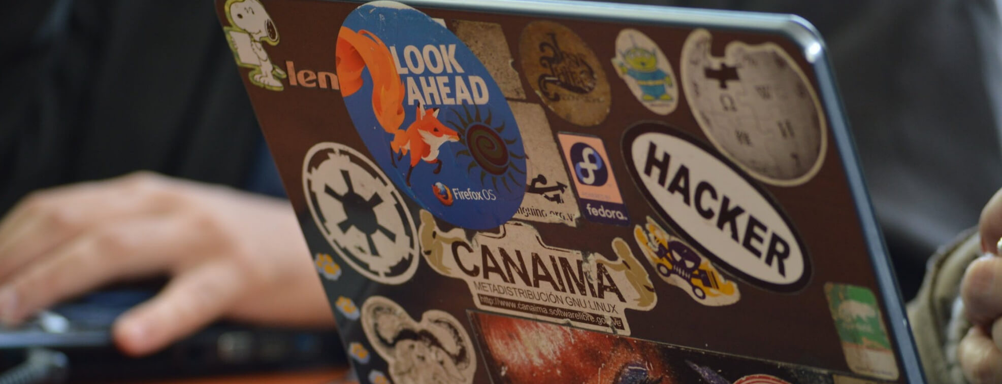 Laptop covered with stickers
