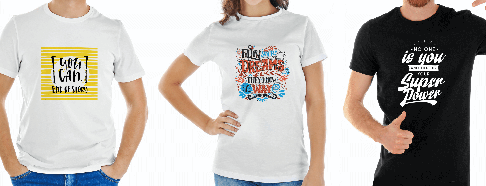 Inspirational words on white and black T-shirts