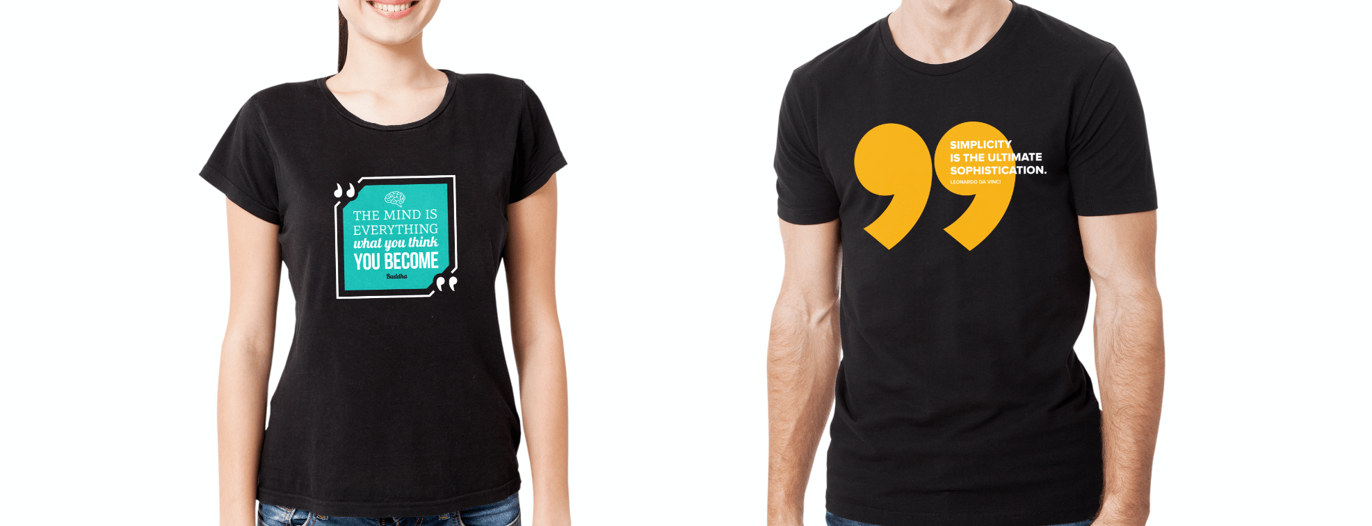 Female and male t-shirts with inspirational quotes
