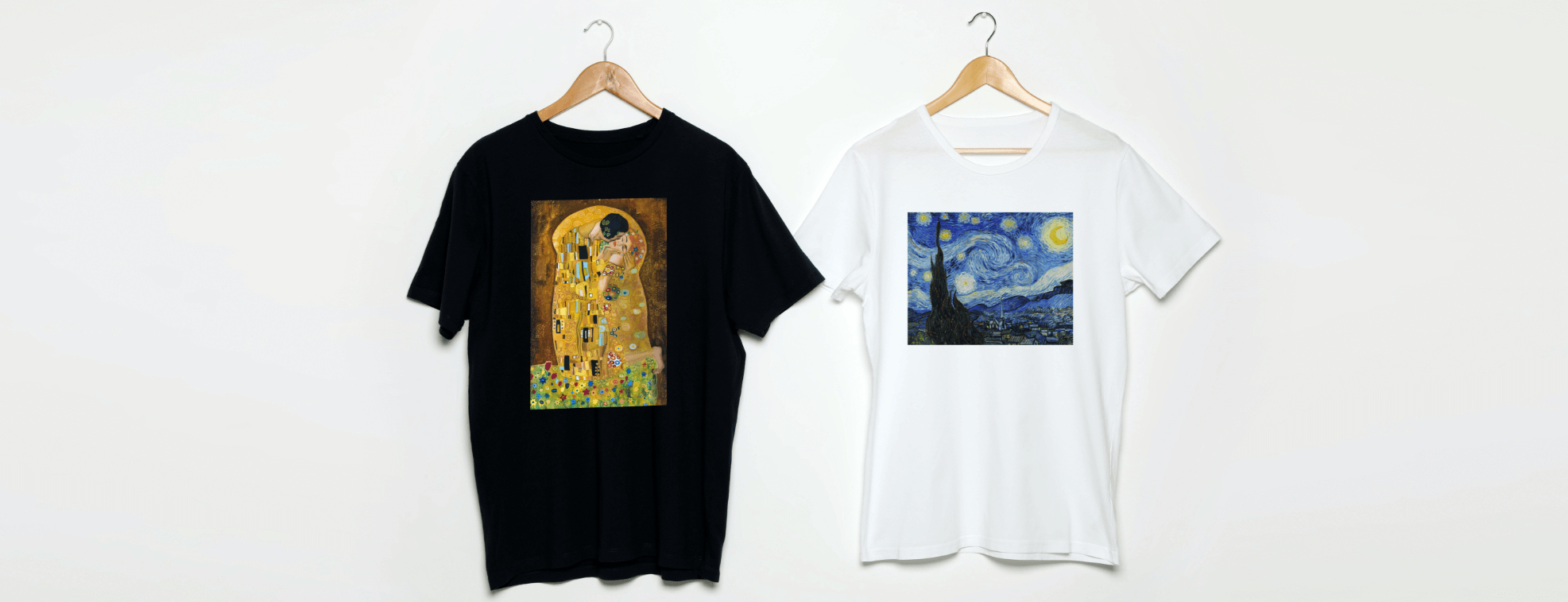 Custom T-shirts with art works by Klimt and Van Gogh