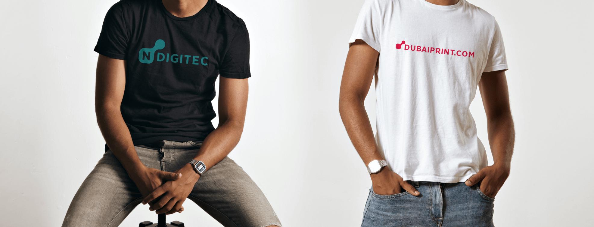 Custom-made made promotional t-shirts for Dubaiprint and NDigitec